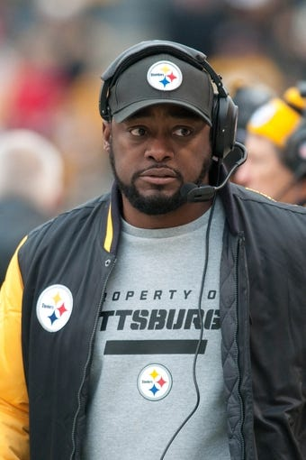Nov 10, 2013; Pittsburgh, PA, USA; Pittsburgh Steelers head coach Mike Tomlin on the sideline during the first quarter of a game against the Buffalo Bills at Heinz Field. Pittsburgh won the game 23-10. Mandatory Credit: Mark Konezny-USA TODAY Sports