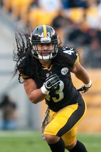Nov 10, 2013; Pittsburgh, PA, USA; Pittsburgh Steelers strong safety Troy Polamalu (43) reacts to a play during the third quarter of a game against the Buffalo Bills at Heinz Field. Mandatory Credit: Mark Konezny-USA TODAY Sports