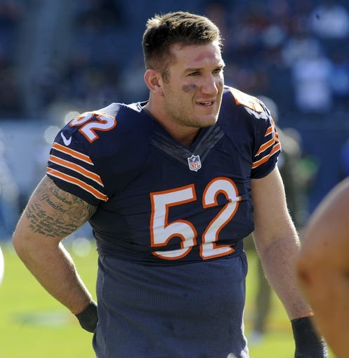 Nov 10, 2013; Chicago, IL, USA;  Chicago Bears outside linebacker Blake Costanzo (52) before the game against the Lions at Soldier Field. Mandatory Credit: Matt Marton-USA TODAY Sports