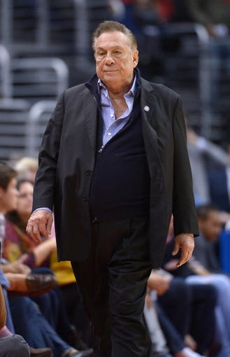 Nov 11, 2013; Los Angeles, CA, USA; Los Angeles Clippers owner Donald Sterling attends the game against the Minnesota Timberwolves at Staples Center. The Clippers defeated the Timberwolves 109-107. Mandatory Credit: Kirby Lee-USA TODAY Sports
