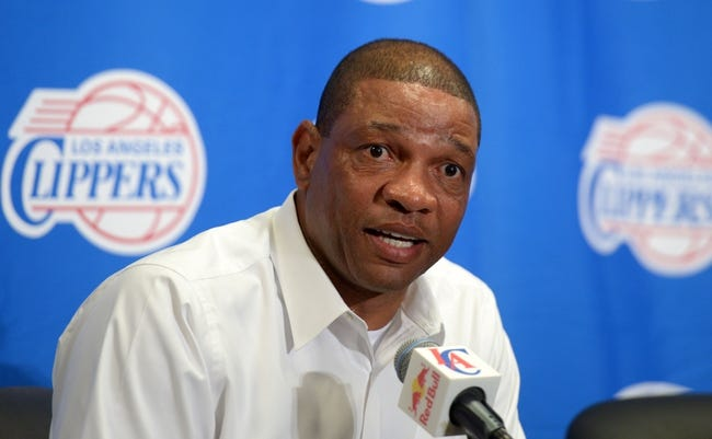 Nov 11, 2013; Los Angeles, CA, USA; Los Angeles Clippers coach Doc Rivers at press conference before the game against the Minnesota Timberwolves at Staples Center. Mandatory Credit: Kirby Lee-USA TODAY Sports