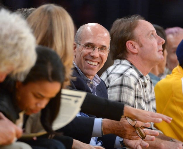 Nov 12, 2013; Los Angeles, CA, USA; Film producer and entertainer Jeffrey Katzenberg attends the NBA game between the New Orleans Pelicans and the Los Angeles Lakers at Staples Center. Mandatory Credit: Kirby Lee-USA TODAY Sports