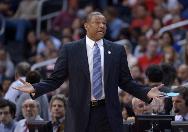 Nov 11, 2013; Los Angeles, CA, USA; Los Angeles Clippers coach Doc Rivers reacts in the first quarter against the Minnesota Timberwolves at Staples Center. Mandatory Credit: Kirby Lee-USA TODAY Sports
