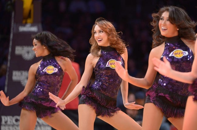 Nov 12, 2013; Los Angeles, CA, USA; Los Angeles Lakers girls cheerleaders perform during the game against the New Orleans Pelicans at Staples Center. Mandatory Credit: Kirby Lee-USA TODAY Sports