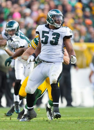 Nov 10, 2013; Green Bay, WI, USA; Philadelphia Eagles linebacker Najee Goode (53) during the game against the Green Bay Packers at Lambeau Field.  Philadelphia won 27-13.  Mandatory Credit: Jeff Hanisch-USA TODAY Sports