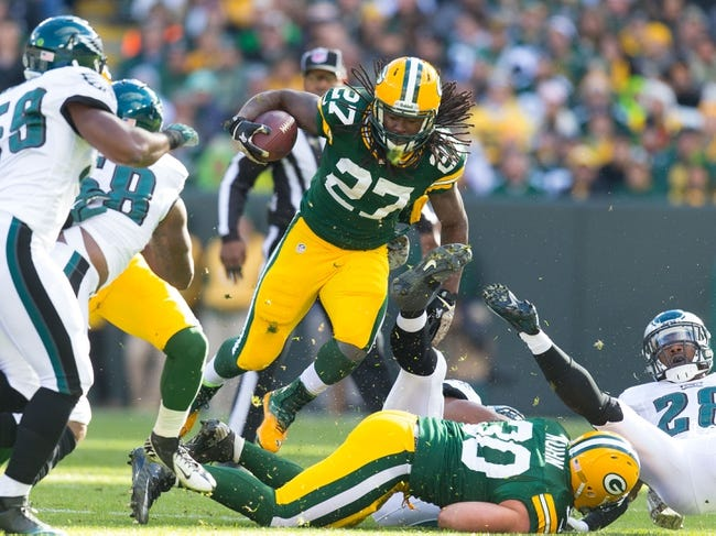 Nov 10, 2013; Green Bay, WI, USA; Green Bay Packers running back Eddie Lacy (27) during the game against the Philadelphia Eagles at Lambeau Field.  Philadelphia won 27-13.  Mandatory Credit: Jeff Hanisch-USA TODAY Sports