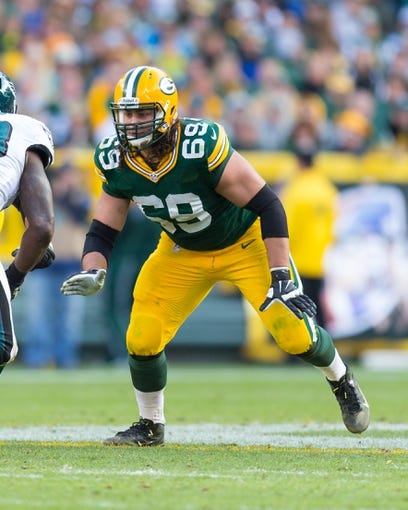 Nov 10, 2013; Green Bay, WI, USA; Green Bay Packers offensive tackle David Bakhtiari (69) during the game against the Philadelphia Eagles at Lambeau Field.  Philadelphia won 27-13.  Mandatory Credit: Jeff Hanisch-USA TODAY Sports