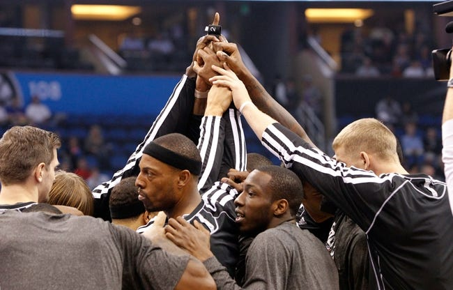 Nov 3, 2013; Orlando, FL, USA; Brooklyn Nets huddles up against the Orlando Magic during the first quarter at Amway Center. Mandatory Credit: Kim Klement-USA TODAY Sports