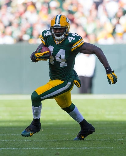 Nov 10, 2013; Green Bay, WI, USA; Green Bay Packers running back James Starks (44) during the game against the Philadelphia Eagles at Lambeau Field.  Philadelphia won 27-13.  Mandatory Credit: Jeff Hanisch-USA TODAY Sports