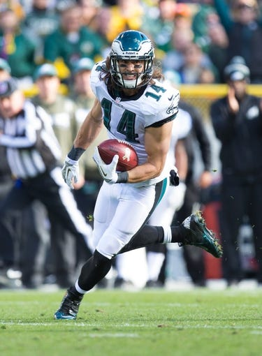 Nov 10, 2013; Green Bay, WI, USA; Philadelphia Eagles wide receiver Riley Cooper (14) during the game against the Green Bay Packers at Lambeau Field.  Philadelphia won 27-13.  Mandatory Credit: Jeff Hanisch-USA TODAY Sports