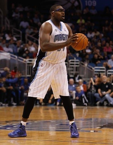Nov 3, 2013; Orlando, FL, USA; Orlando Magic power forward Jason Maxiell (54) against the Brooklyn Nets during the second half at Amway Center. Mandatory Credit: Kim Klement-USA TODAY Sports