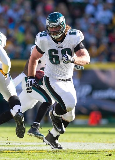 Nov 10, 2013; Green Bay, WI, USA; Philadelphia Eagles guard Evan Mathis (69) during the game against the Green Bay Packers at Lambeau Field.  Philadelphia won 27-13.  Mandatory Credit: Jeff Hanisch-USA TODAY Sports