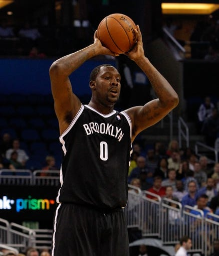 Nov 3, 2013; Orlando, FL, USA; Brooklyn Nets center Andray Blatche (0) against the Orlando Magic during the first quarter at Amway Center. Mandatory Credit: Kim Klement-USA TODAY Sports
