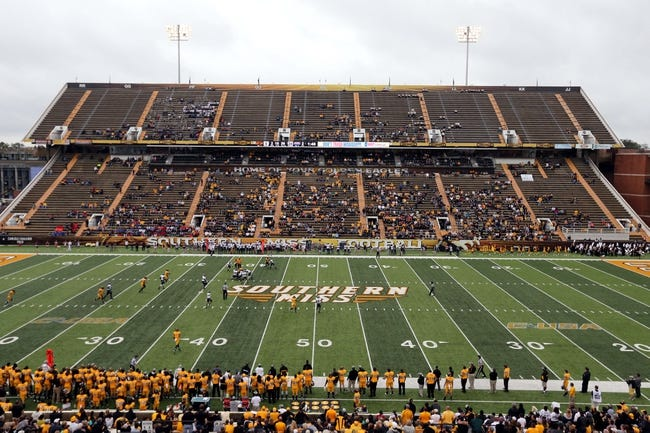 Nov 16, 2013; Hattiesburg, MS, USA; A general view of the small crowd at M.M. Roberts Stadium where the Southern Miss Golden Eagles played the Florida Atlantic Owls. Mandatory Credit: Chuck Cook-USA TODAY Sports