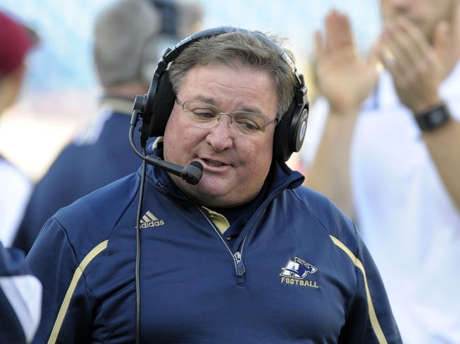 Nov 16, 2013; Foxborough, MA, USA; Akron Zips head coach Terry Bowden during the first half against the Massachusetts Minutemen at Gillette Stadium. Mandatory Credit: Bob DeChiara-USA TODAY Sports