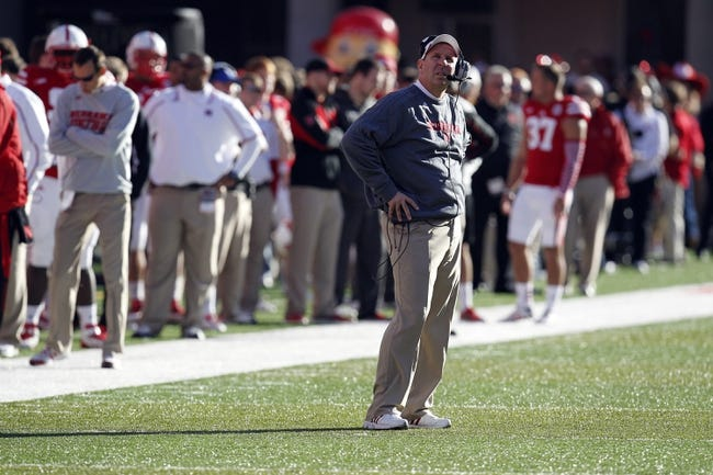Nov 16, 2013; Lincoln, NE, USA; Nebraska Cornhuskers head coach Bo Pelini stands on the field during the game against the Michigan State Spartans in the first quarter at Memorial Stadium. Mandatory Credit: Bruce Thorson-USA TODAY Sports