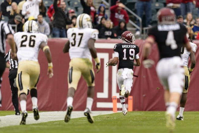 Nov 16, 2013; Philadelphia, PA, USA; Temple Owls wide receiver Robby Anderson (19) carries for a touchdown during the third quarter against the UCF Knights at Lincoln Financial Field. UCF defeated Temple 39-36. Mandatory Credit: Howard Smith-USA TODAY Sports