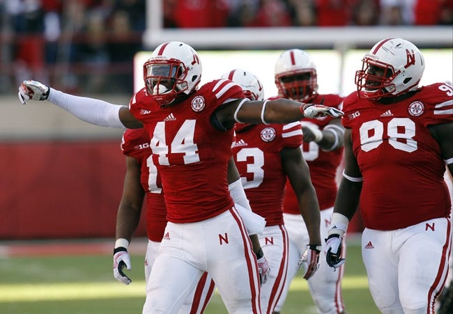 Nov 16, 2013; Lincoln, NE, USA; Nebraska Cornhuskers defender Randy Gregory (44) celebrates after a quarterback sack against the Michigan State Spartans in the second quarter at Memorial Stadium. Mandatory Credit: Bruce Thorson-USA TODAY Sports