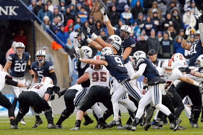 Nov 16, 2013; Provo, UT, USA; Brigham Young Cougars special teams blocks a Idaho State Bengals field goal attempt during the second quarter at Lavell Edwards Stadium. Mandatory Credit: Chris Nicoll-USA TODAY Sports