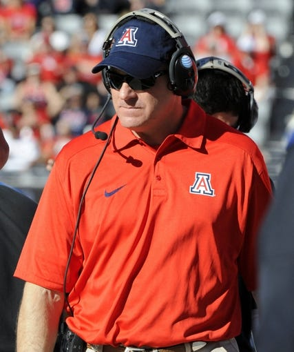 Nov 16, 2013; Tucson, AZ, USA; Arizona Wildcats head coach Rich Rodriguez on the sideline during the fourth quarter against the Washington State Cougars at Arizona Stadium. The Cougars beat the Wildcats 24-17. Mandatory Credit: Casey Sapio-USA TODAY Sports