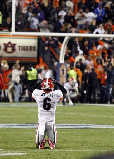 Nov 16, 2013; Auburn, AL, USA; Georgia Bulldogs cornerback Shaq Wiggins (6) reacts after the Auburn Tigers scored late in the fourth quarter at Jordan Hare Stadium. The Tigers beat the Bulldogs 43-38.  Mandatory Credit: John Reed-USA TODAY Sports