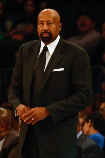 Nov 16, 2013; New York, NY, USA;  New York Knicks head coach Mike Woodson during the first quarter against the Atlanta Hawks at Madison Square Garden. Mandatory Credit: Anthony Gruppuso-USA TODAY Sports