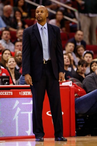 Nov 16, 2013; Houston, TX, USA; Denver Nuggets head coach Brian Shaw watches from the sideline during the first half against the Houston Rockets at Toyota Center. Mandatory Credit: Soobum Im-USA TODAY Sports
