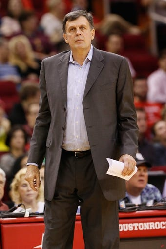 Nov 16, 2013; Houston, TX, USA; Houston Rockets head coach Kevin McHale watches from the sideline during the first half against the Denver Nuggets at Toyota Center. Mandatory Credit: Soobum Im-USA TODAY Sports
