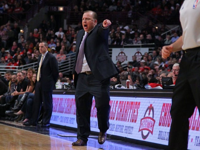 Nov 16, 2013; Chicago, IL, USA; Chicago Bulls head coach Tom Thibodeau reacts during the second half against the Indiana Pacers at  the United Center. Chicago won 110-94. Mandatory Credit: Dennis Wierzbicki-USA TODAY Sports