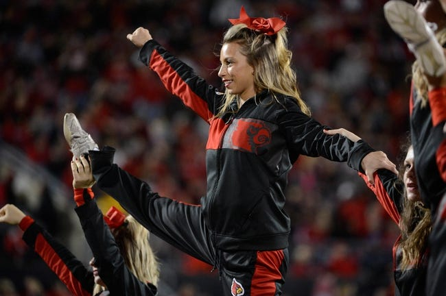 Nov 16, 2013; Louisville, KY, USA; The against the Louisville Cardinals cheerleaders performed during the second half of play against the Houston Cougars at Papa John's Cardinal Stadium. Louisville defeated Houston 20-13.  Mandatory Credit: Jamie Rhodes-USA TODAY Sports
