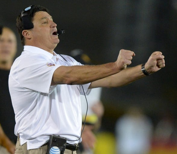 Nov 16, 2013; Los Angeles, CA, USA; Southern California Trojans coach Ed Orgeron reacts during the game against the Stanford Cardinal at Los Angeles Memorial Coliseum. USC defeated Stanford 20-17. Mandatory Credit: Kirby Lee-USA TODAY Sports
