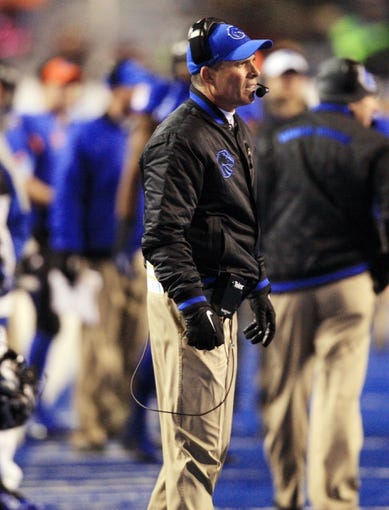 Nov 16, 2013; Boise, ID, USA; Boise State Broncos head coach Chris Petersen during the second half against the Wyoming Cowboys at Bronco Stadium. Boise State defeated Wyoming 48-7. Mandatory Credit: Brian Losness-USA TODAY Sports