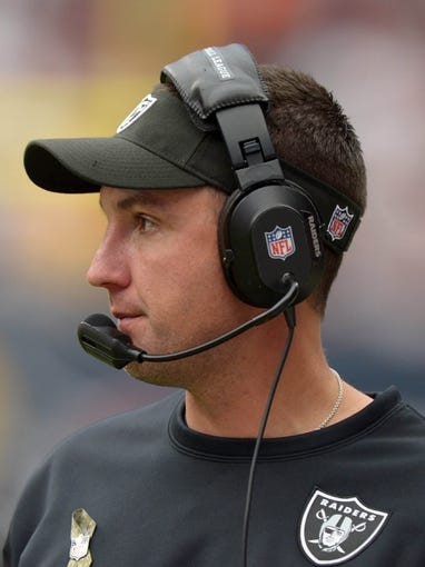 Nov 17, 2013; Houston, TX, USA; Oakland Raiders coach Dennis Allen during the game against the Houston Texans at Reliant Stadium. The Raiders defeated the Texans 28-23. Mandatory Credit: Kirby Lee-USA TODAY Sports