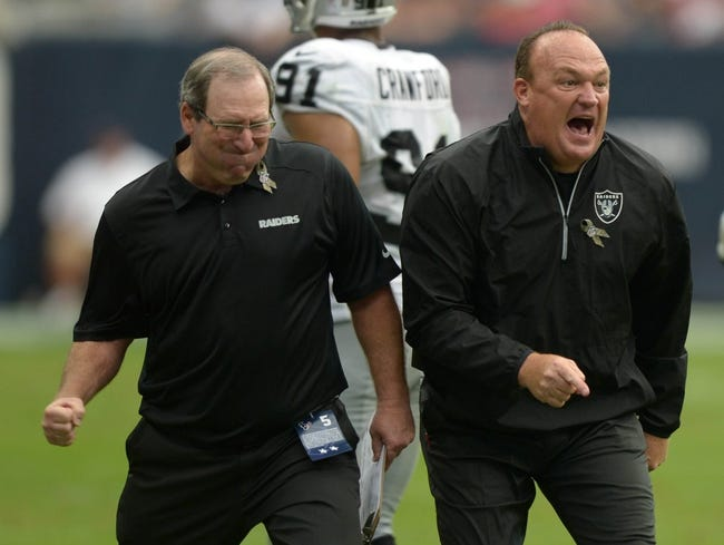 Nov 17, 2013; Houston, TX, USA; Oakland Raiders special teams coordinator Bobby April (left) and special teams assistant Keith Burns react during the game against the Houston Texans at Reliant Stadium. The Raiders defeated the Texans 28-23. Mandatory Credit: Kirby Lee-USA TODAY Sports