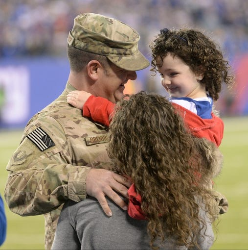 iNov 17, 2013; East Rutherford, NJ, USA; Air Force tech sgt David Brenhuber (Joint Base McGuire-Dix-Lakehurst)surprises his wifeTammy and 4 year old daughter Alexis prior to the game at MetLife Stadium. . Sgt Brenhuber just returned from Bagram Airfield, Afghanistan. Mandatory Credit: Robert Deutsch-USA TODAY Sports
