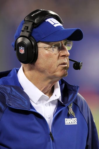 Nov 17, 2013; East Rutherford, NJ, USA; New York Giants head coach Tom Coughlin looks on against the Green Bay Packers during the third quarter of a game at MetLife Stadium. Mandatory Credit: Brad Penner-USA TODAY Sports