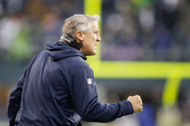 Nov 17, 2013; Seattle, WA, USA; Seattle Seahawks head coach Pete Carroll pumps his fist after a third-down stop against the Minnesota Vikings during the third quarter at CenturyLink Field. Mandatory Credit: Joe Nicholson-USA TODAY Sports