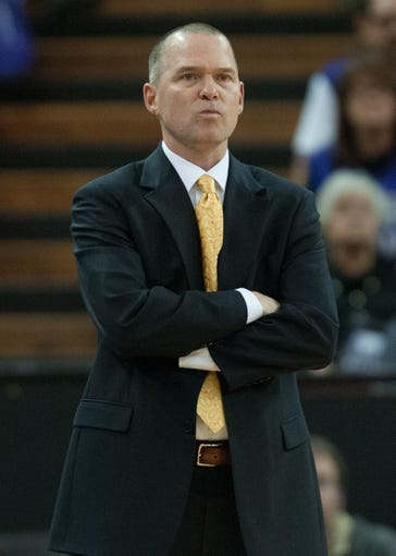 Nov 17, 2013; Sacramento, CA, USA; Sacramento Kings head coach Michael Malone looks on during the fourth quarter of the game against the Memphis Grizzlies at Sleep Train Arena. The Memphis Grizzlies defeated the Sacramento Kings 97-86. Mandatory Credit: Ed Szczepanski-USA TODAY Sports