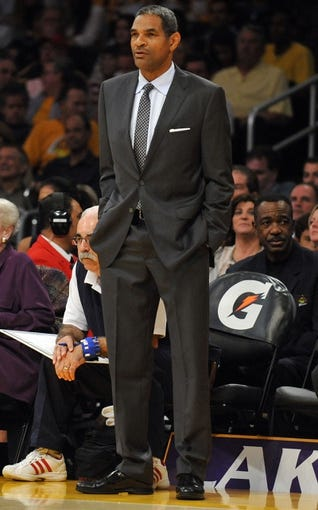 November 17, 2013; Los Angeles, CA, USA; Detroit Pistons head coach Maurice Cheeks watches game action against the Los Angeles Lakers during the second half at Staples Center. Mandatory Credit: Gary A. Vasquez-USA TODAY Sports