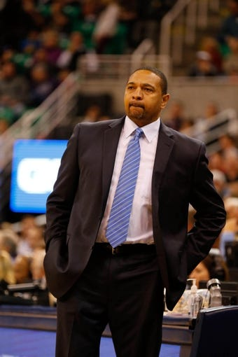 Nov 18, 2013; Salt Lake City, UT, USA; Golden State Warriors head coach Mark Jackson watches his team during the first quarter in the game between the Utah Jazz and the Golden State Warriors at EnergySolutions Arena. Mandatory Credit: Chris Nicoll-USA TODAY Sports