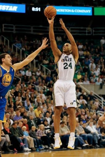 Nov 18, 2013; Salt Lake City, UT, USA; Utah Jazz small forward Richard Jefferson (24) shoots a basket during the fourth quarter against the Golden State Warriors at EnergySolutions Arena. Golden State Warriors won 98-87. Mandatory Credit: Chris Nicoll-USA TODAY Sports