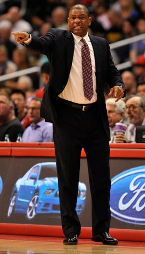 Nov 18, 2013; Los Angeles, CA, USA; Los Angeles Clippers head coach Doc Rivers on the sidelines during the second half against the Memphis Grizzlies at Staples Center. Mandatory Credit: Robert Hanashiro-USA TODAY Sports