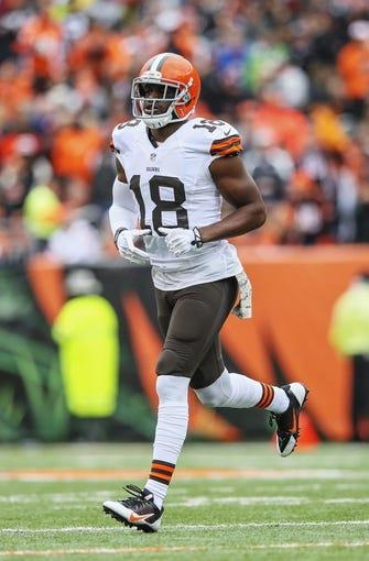 Nov 17, 2013; Cincinnati, OH, USA; Cleveland Browns wide receiver Greg Little (18) during the game against the Cincinnati Bengals at Paul Brown Stadium. Cincinnati won 41-20.  Mandatory Credit: Kevin Jairaj-USA TODAY Sports