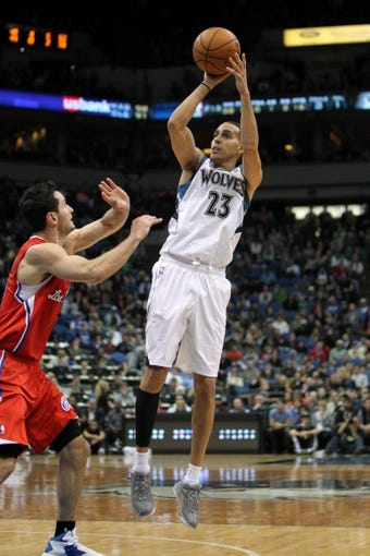 Nov 20, 2013; Minneapolis, MN, USA; Minnesota Timberwolves guard Kevin Martin (23) shoots during the fourth quarter against the Los Angeles Clippers at Target Center. The Clippers defeated the Timberwolves 102-98. Mandatory Credit: Brace Hemmelgarn-USA TODAY Sports