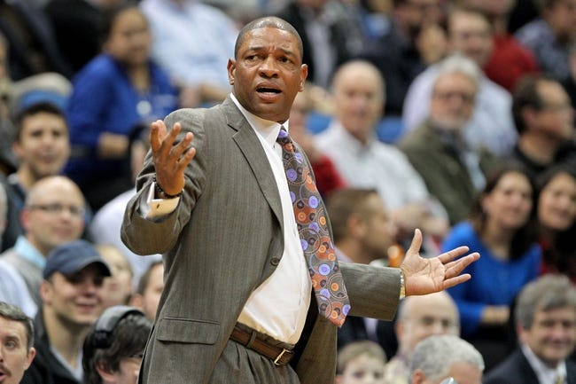 Nov 20, 2013; Minneapolis, MN, USA; Los Angeles Clippers head coach Doc Rivers looks on during the first quarter against the Minnesota Timberwolves at Target Center. The Clippers defeated the Timberwolves 102-98. Mandatory Credit: Brace Hemmelgarn-USA TODAY Sports