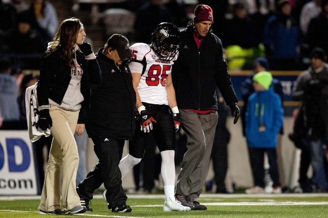 Nov 20, 2013; Toledo, OH, USA; Northern Illinois Huskies wide receiver Angelo Sebastiano (85) gets helped off the field during the fourth quarter against the Toledo Rockets at Glass Bowl. The Huskies beat the Rockets 35-17. Mandatory Credit: Raj Mehta-USA TODAY Sports