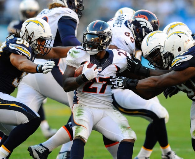 Nov 10, 2013; San Diego, CA, USA; Denver Broncos running back Knowshon Moreno (27) is tackled during the second half against the San Diego Chargers at Qualcomm Stadium. The Broncos won 28-20. Mandatory Credit: Christopher Hanewinckel-USA TODAY Sports