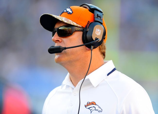 Nov 10, 2013; San Diego, CA, USA; Denver Broncos interim head coach Jack Del Rio calls plays from the sidelines during the second half against the San Diego Chargers at Qualcomm Stadium. The Broncos won 28-20. Mandatory Credit: Christopher Hanewinckel-USA TODAY Sports