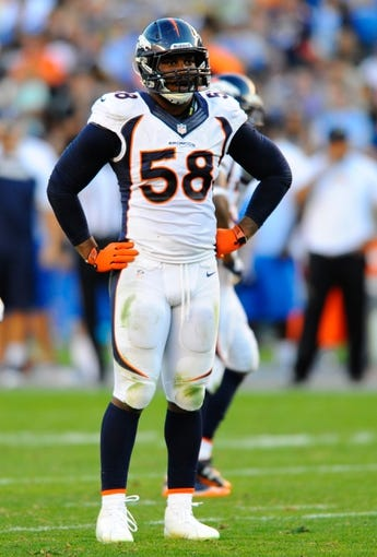 Nov 10, 2013; San Diego, CA, USA; Denver Broncos linebacker Von Miller (58) during the second half against the San Diego Chargers at Qualcomm Stadium. The Broncos won 28-20. Mandatory Credit: Christopher Hanewinckel-USA TODAY Sports