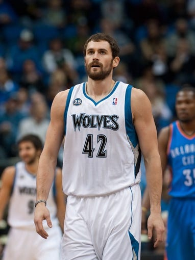 Nov 1, 2013; Minneapolis, MN, USA; Minnesota Timberwolves power forward Kevin Love (42) during the first quarter against the Oklahoma City Thunder at Target Center. Timberwolves won 100-81. Mandatory Credit: Greg Smith-USA TODAY Sports